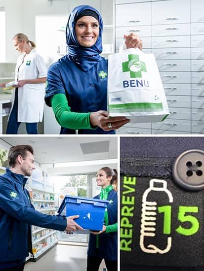 BENU medewerkers met duurzame bedrijfskleding