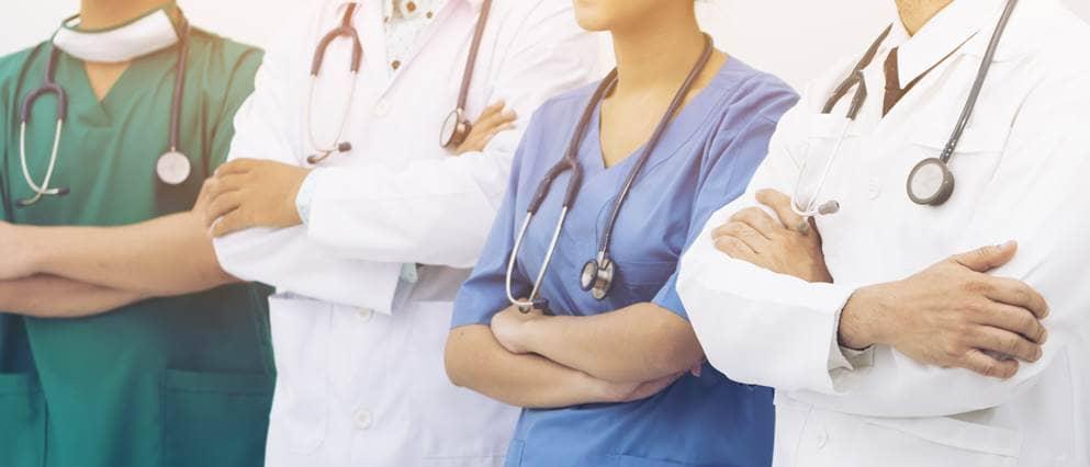 verschillende zorgprofessionals op een rij