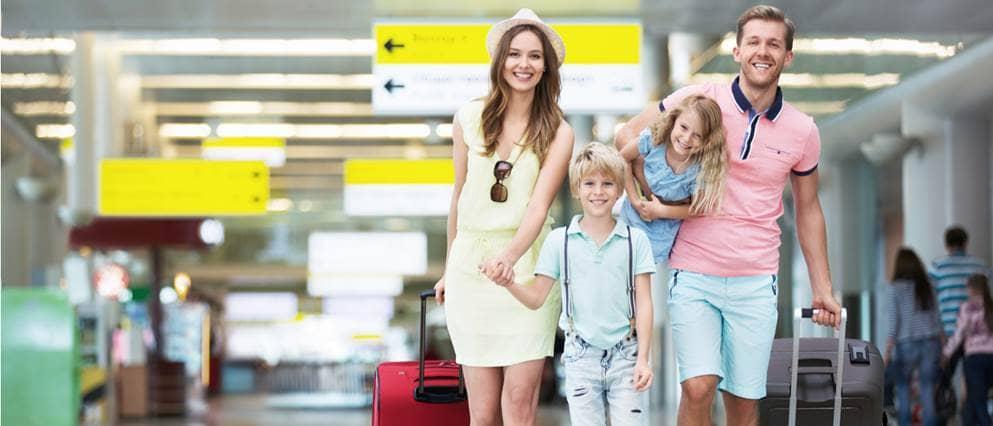 gezin in vakantiestemming