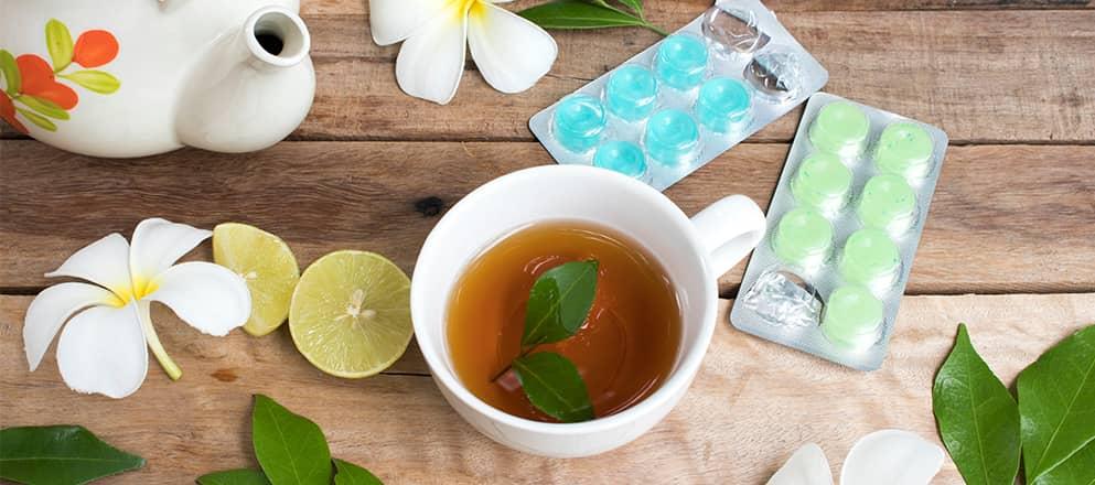 Middelen tegen keelpijn, thee en keelpastilles