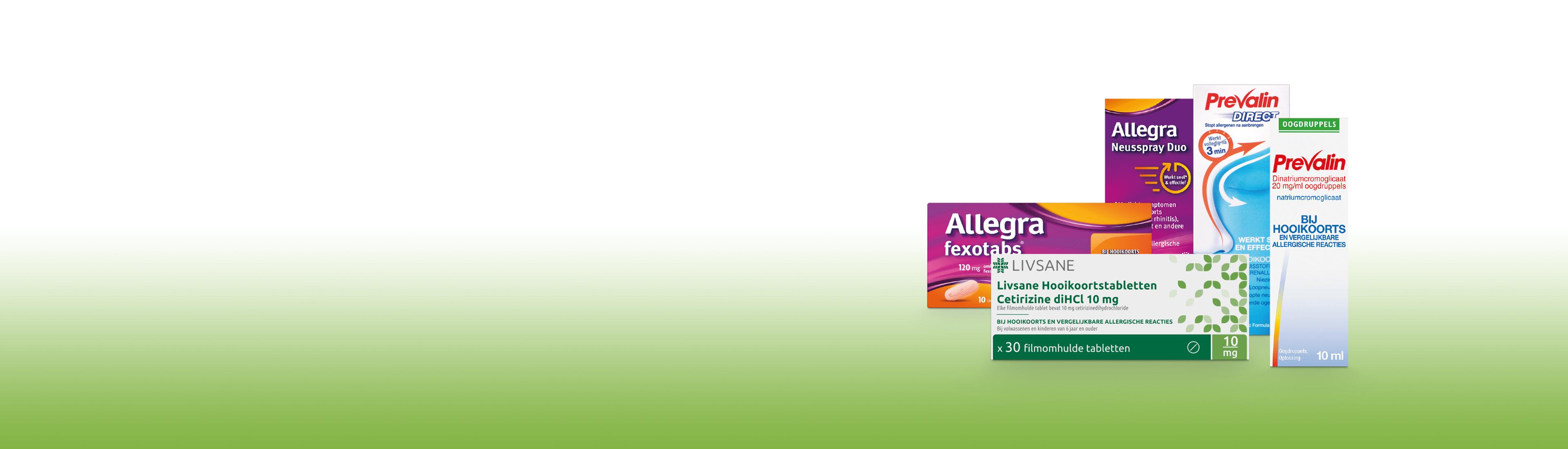 Producten tegen hooikoorts tegen een wit groene achtergrond