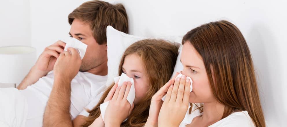 Hele familie ziek in bed met de griep
